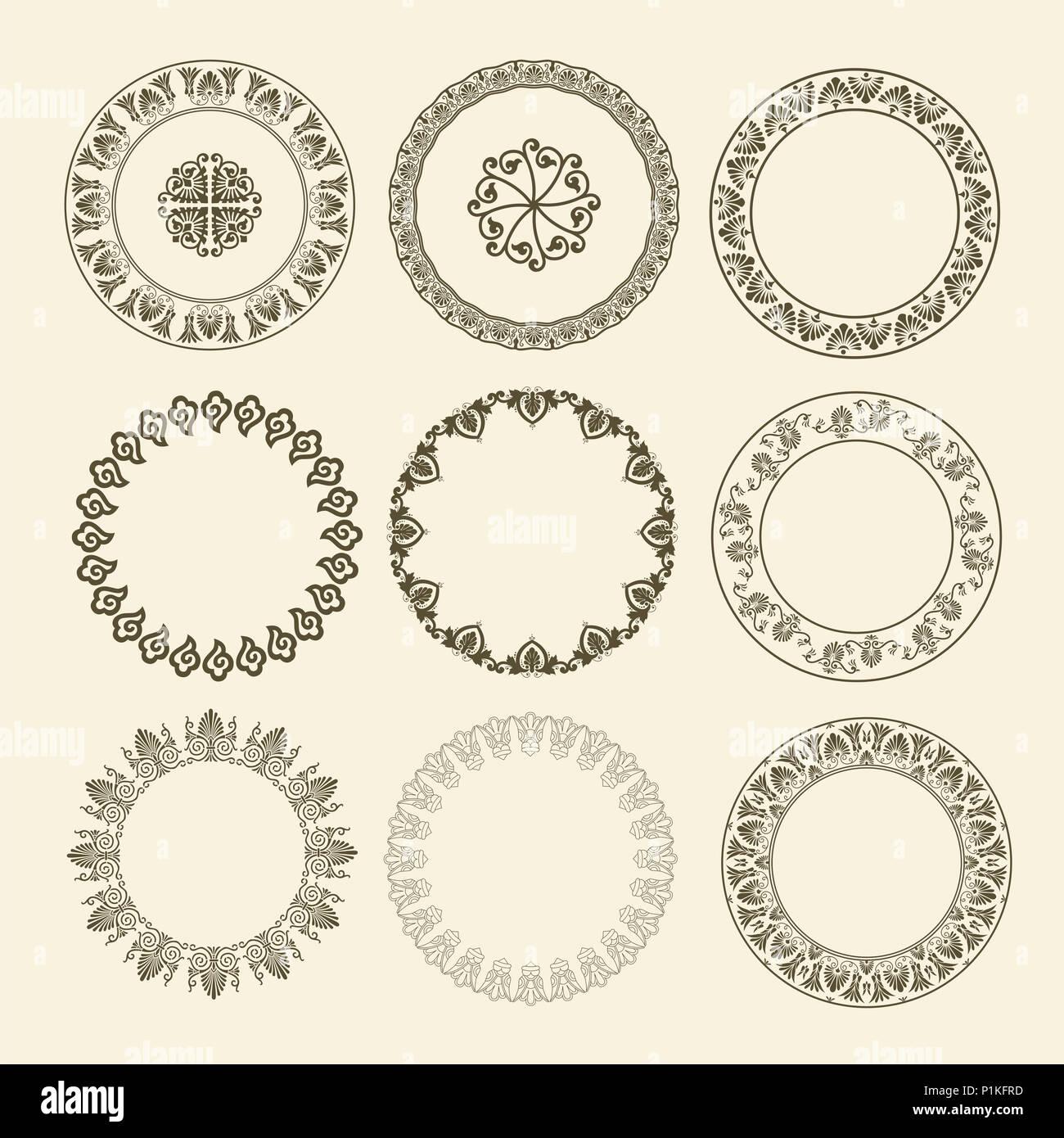 Nationale Griechische Antike runde Muster. Kreis ornament Mäander ...
