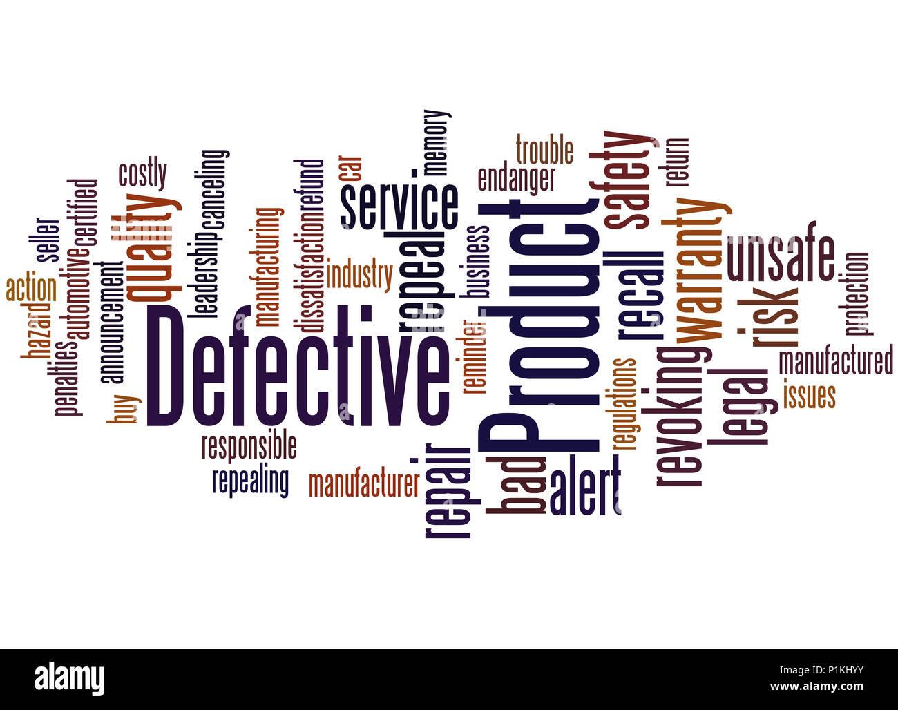 Defektes Produkt, Word cloud Konzept auf weißem Hintergrund. Stockbild