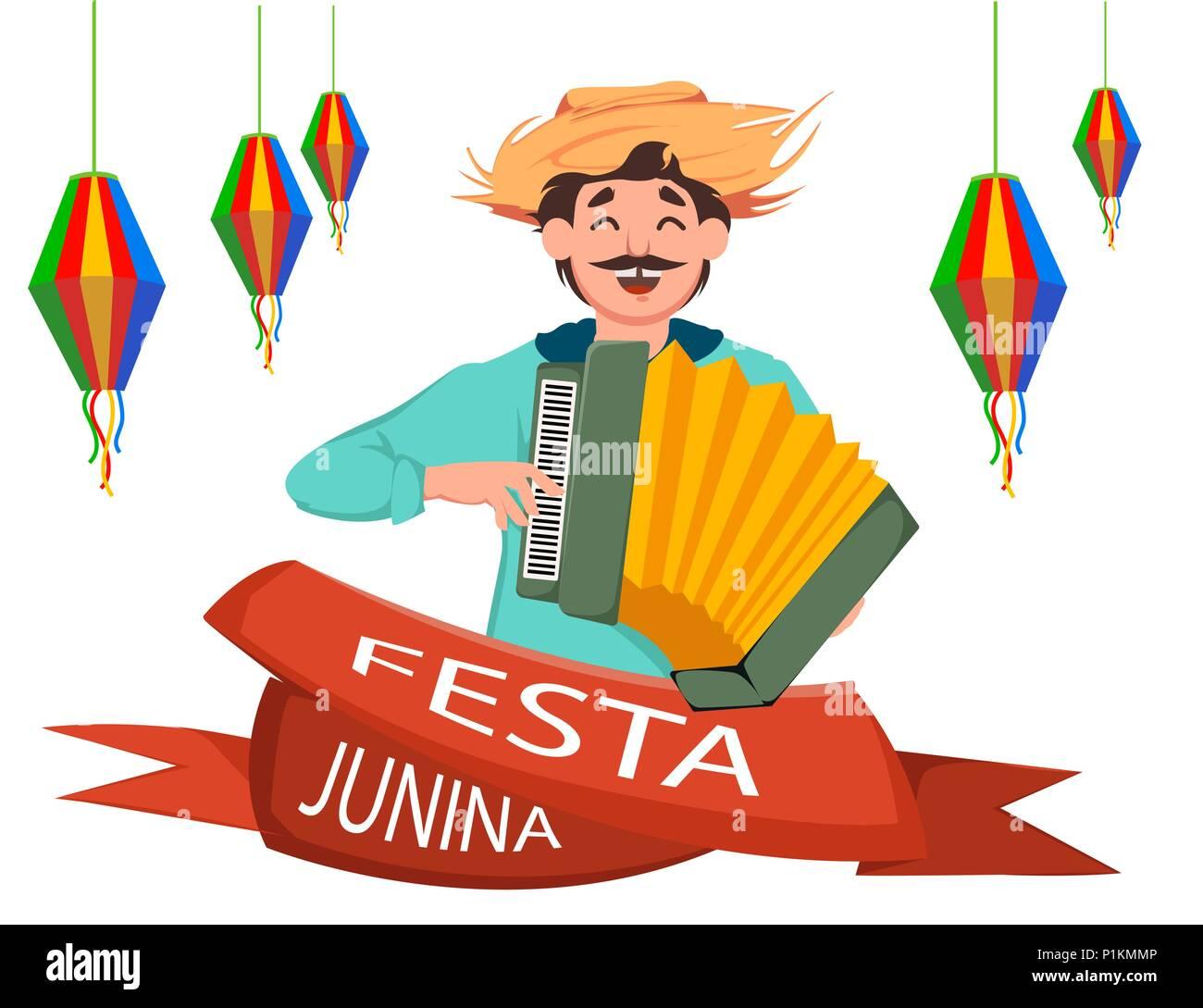 Festa Junina Grußkarte Poster Banner Oder Einladung