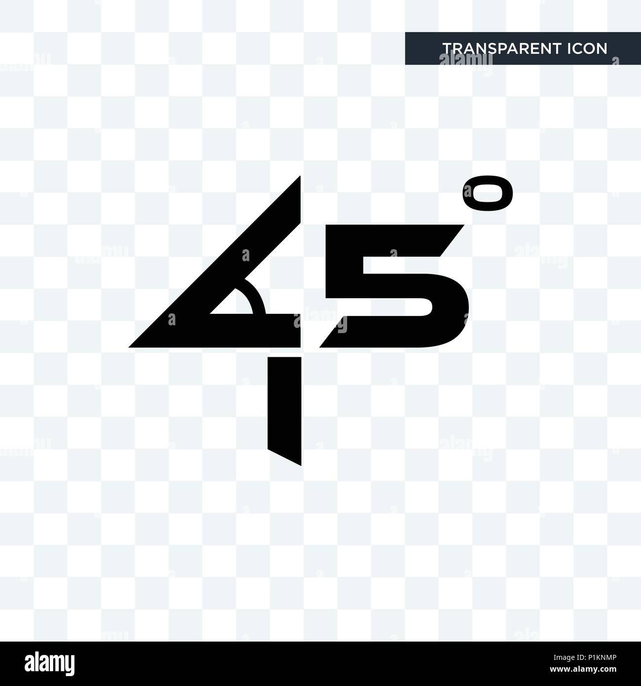 45 grad winkel vektor icon auf transparentem hintergrund isoliert