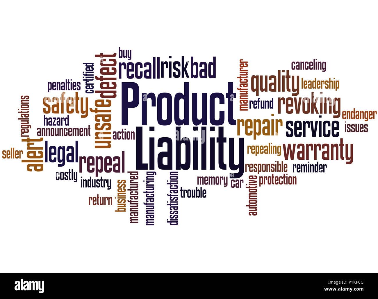 Produkthaftung, Word cloud Konzept auf weißem Hintergrund. Stockbild