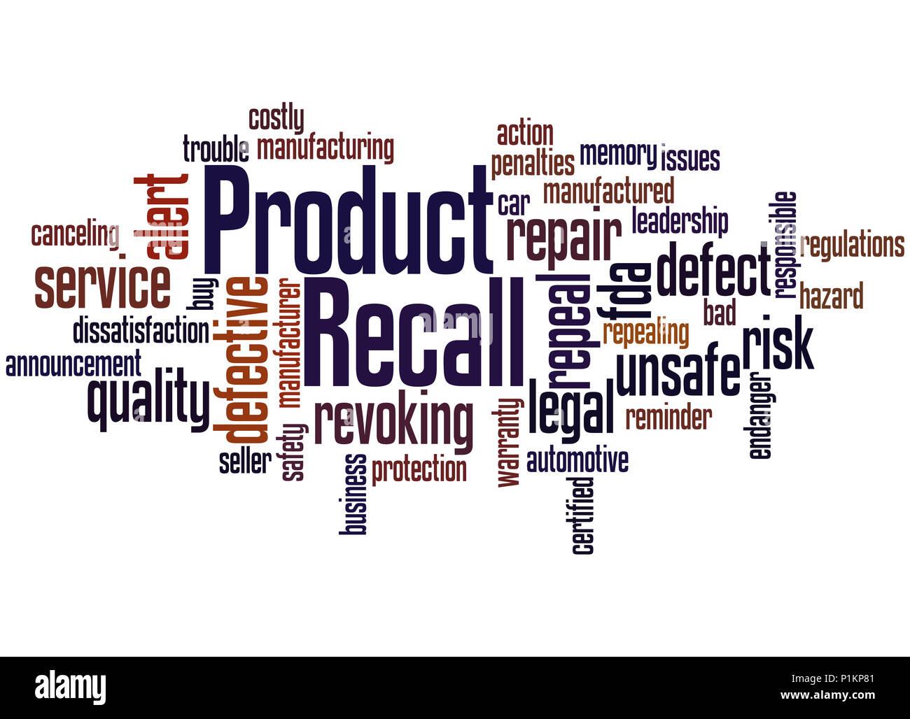 Produkt erinnern, Word cloud Konzept auf weißem Hintergrund. Stockbild