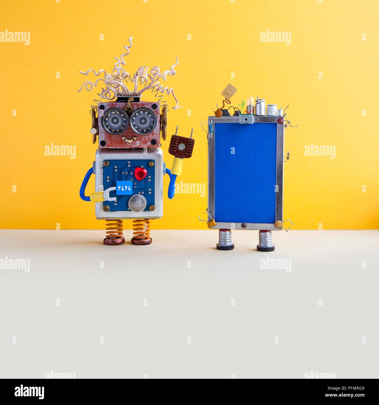 Gelbe Karte Lustig.Smartphone Und Robot Assistant Kreatives Design Touchscreen Handy