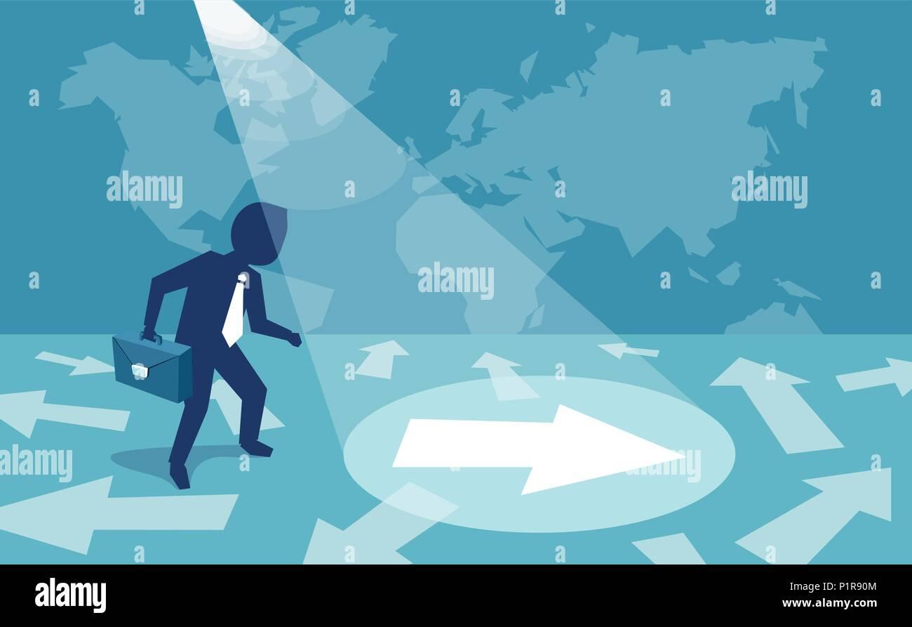 Abbildung: Ein Geschäftsmann verwirrt über Richtung und unter Anleitung von oben. Stockbild