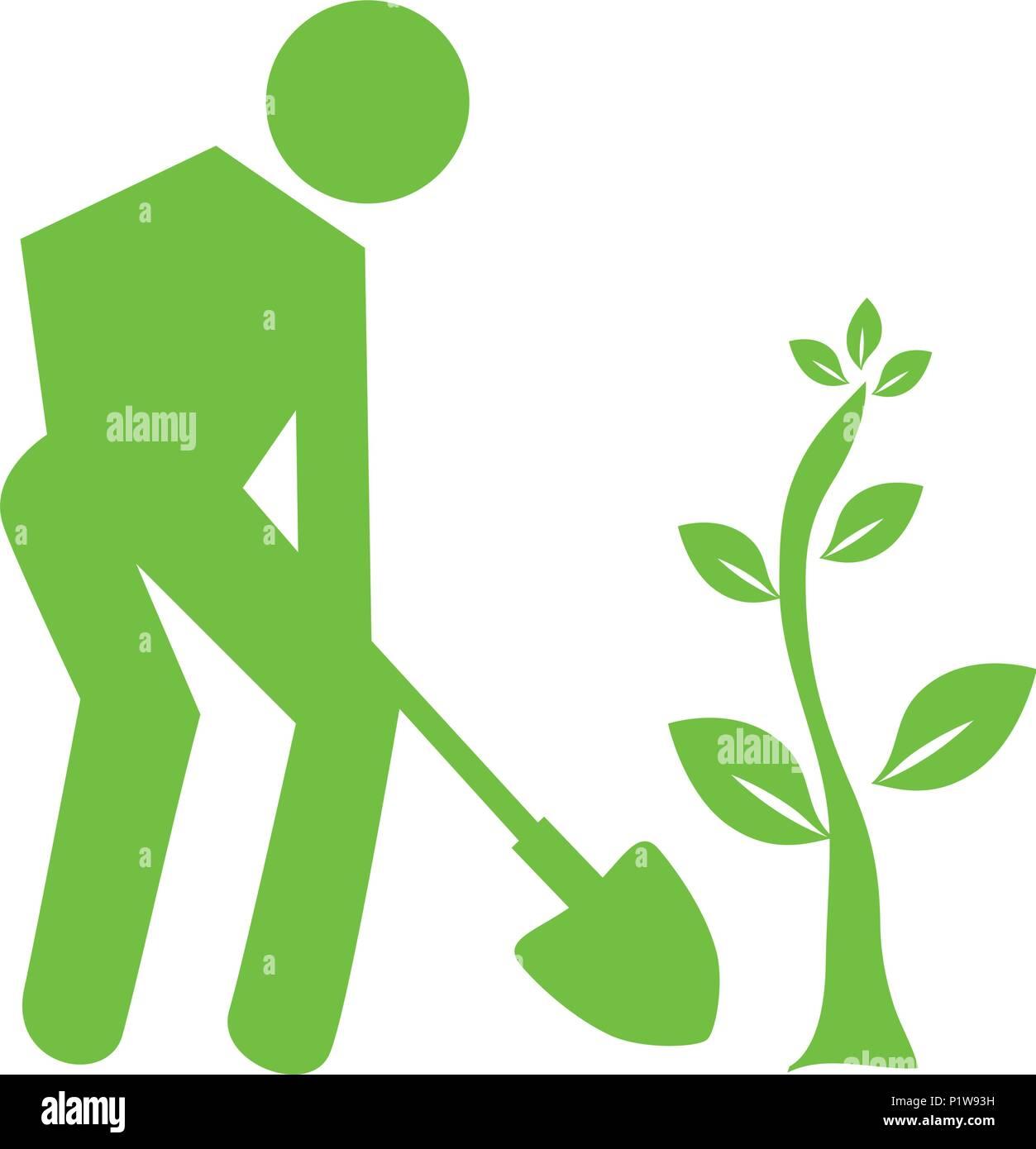 Berühmt Silhouette Menschen einen Baum pflanzen Vektor Abbildung - Bild @UB_72