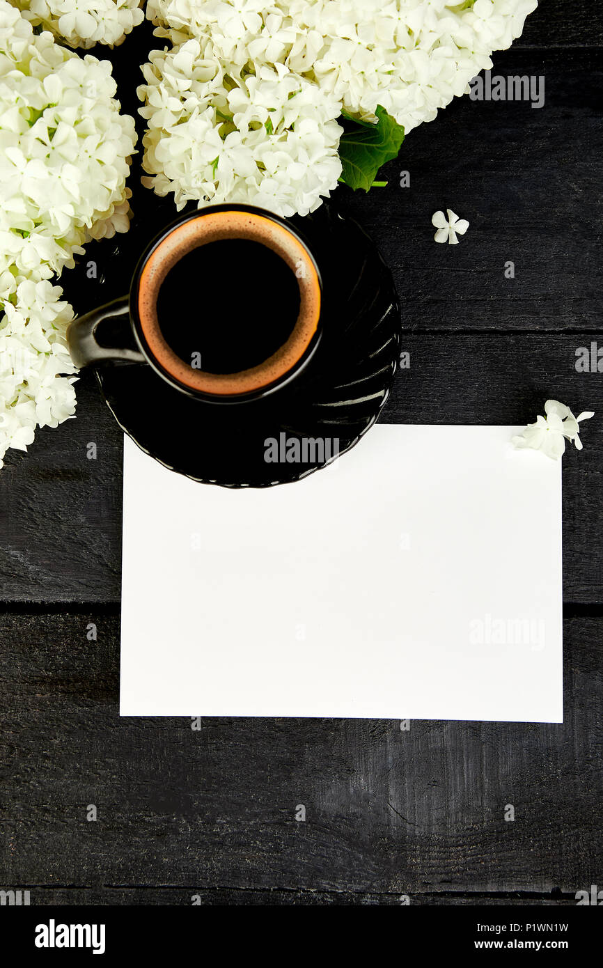 Tasse Kaffee Mit Blumenstrauß Blume Hortensie Mit Leeren