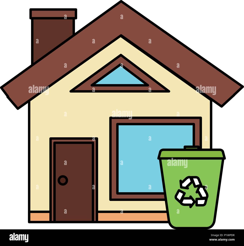Äußere Haus mit Papierkorb Vector Illustration Design Vektor ...