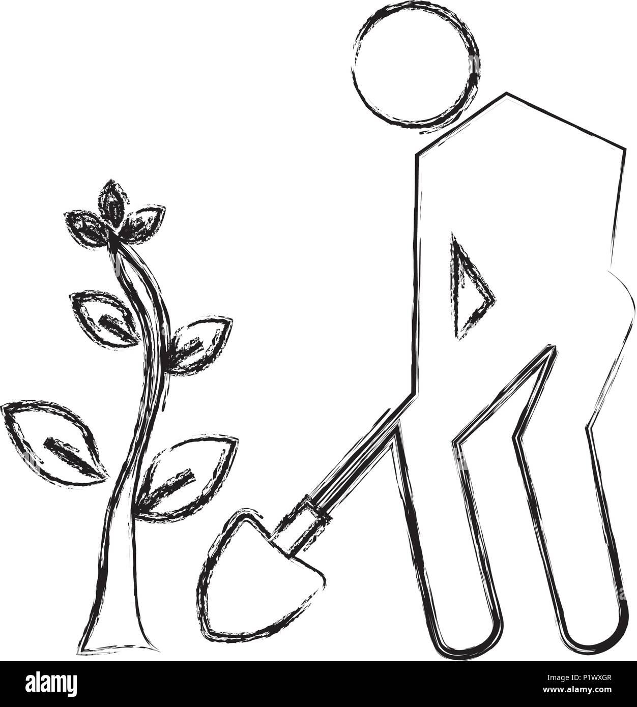Fabelhaft Silhouette Menschen einen Baum pflanzen Vektor Abbildung - Bild &BB_85