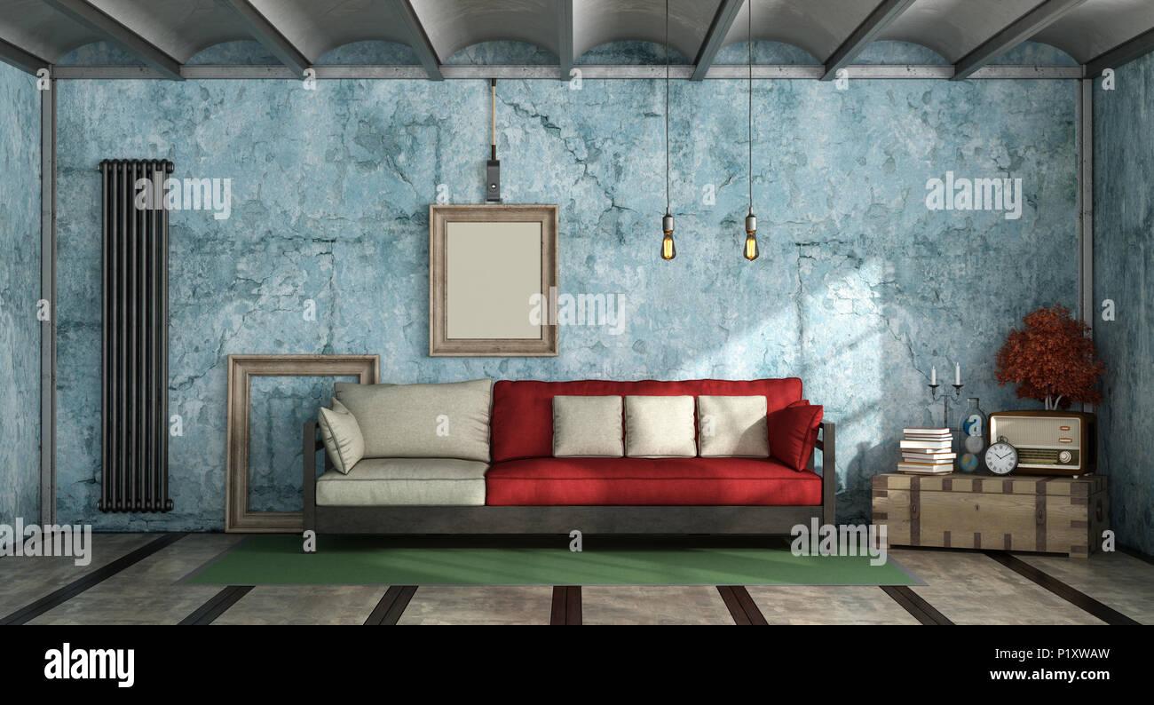 Farbenfrohe Wohnzimmer Im Industriellen Stil Mit Sofa Gegen Alte Blaue Wand  3D Rendering