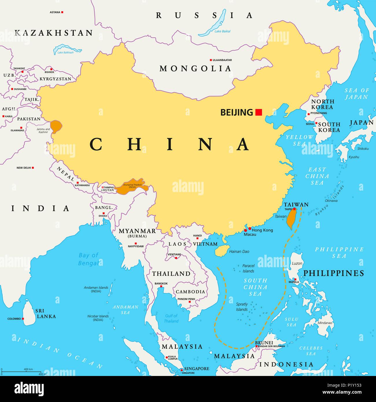 china politische karte Volksrepublik China, VR China, politische Karte. Bereich von China