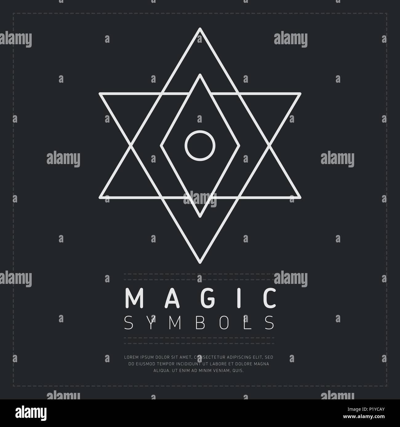 Geheimnisvolle Weiße geometrische Symbol Stockbild