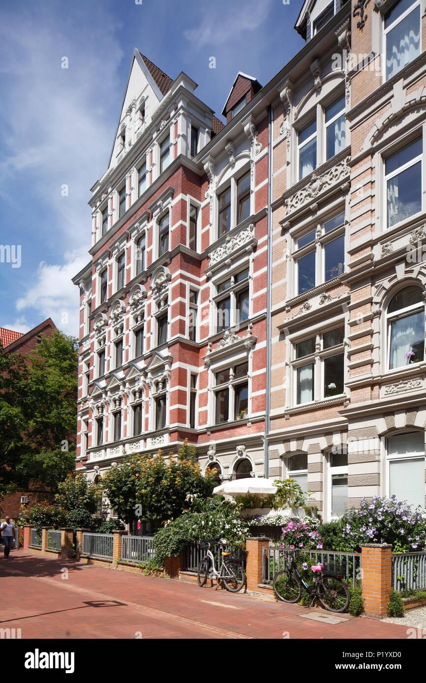 Altes Wohnhaus im klassischen Stil in Körtingstrasse, Hannover, Niedersachsen, Deutschland, Europa ich altes Wohnhaus in der Körtingstraße, Hannover, NStockfoto