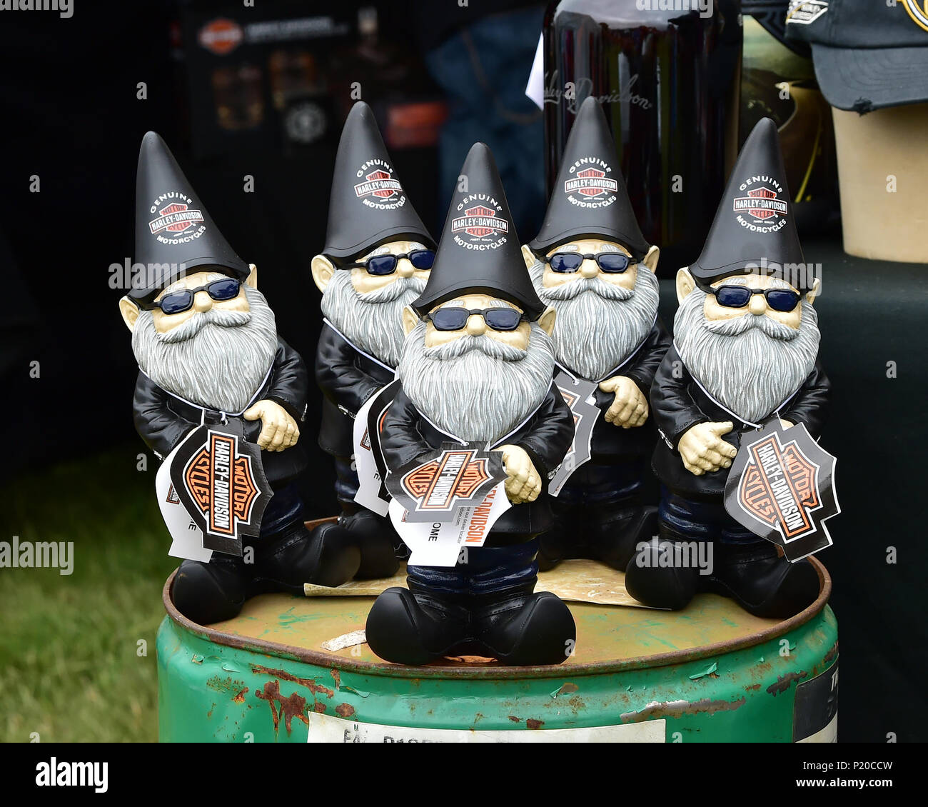 Gnome, Harley Davidson, Maidstone Harley-Davidson, Amerikanische Speedfest VI, Automobile, Autosport, Brands Hatch, Autos, Rundstrecke, klassische Autos, E Stockbild