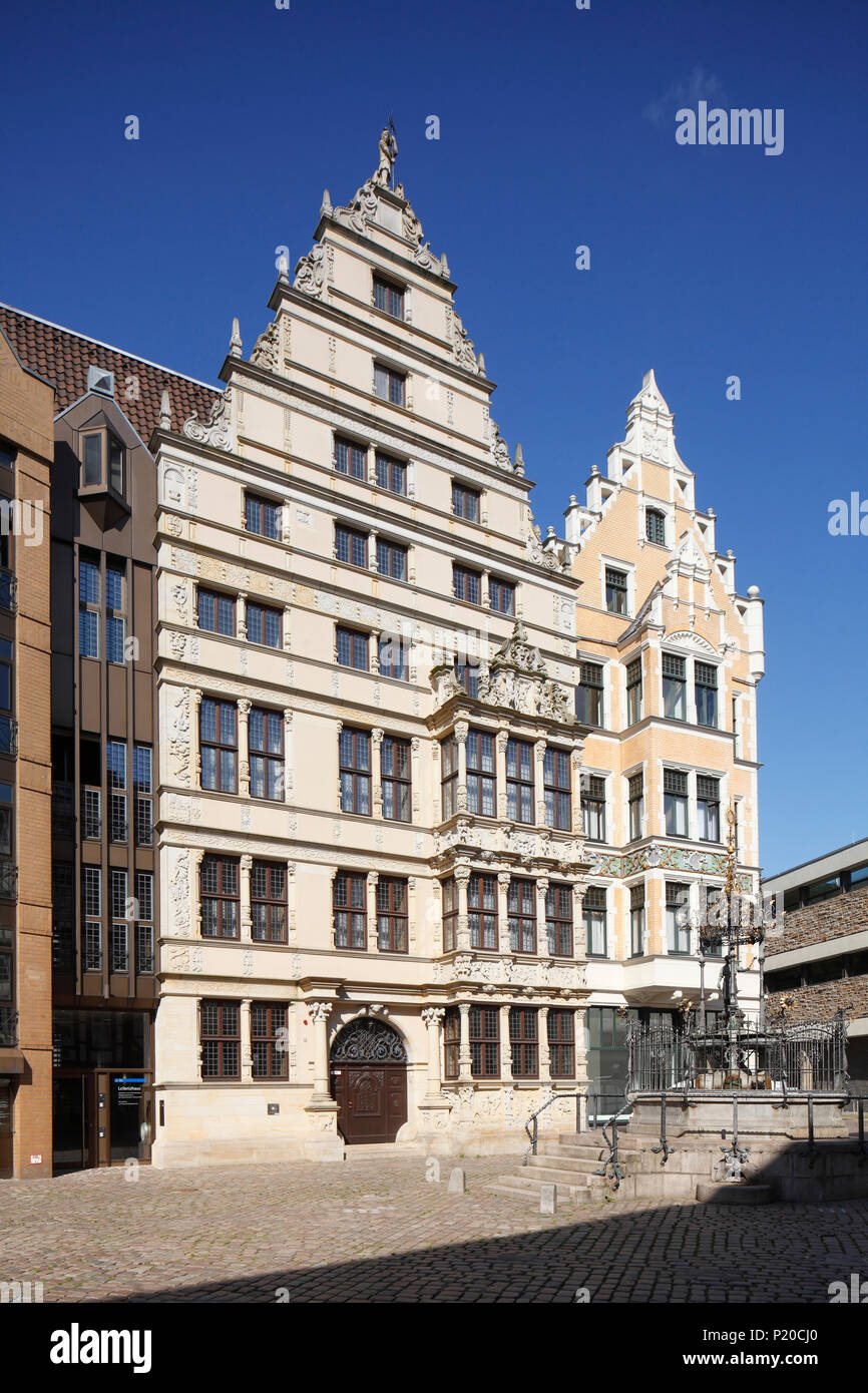 Leibnithaus, Renaissance Town House ab 1499, am Holzmarkt, Hannover, Niedersachsen, Deutschland, Europa ich Leibnithaus, renaissance-bürgerhaus von 1499 Stockfoto