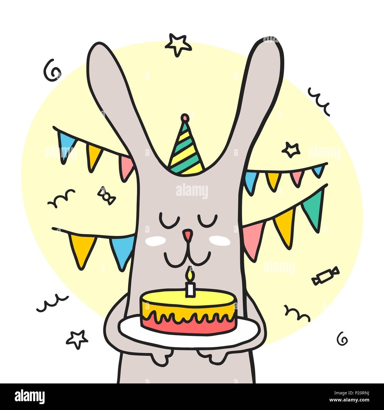 Funny Bunny Halten Happy Birthday Cake Cartoon Bunte Flachbild Vektor Tier Abbildung