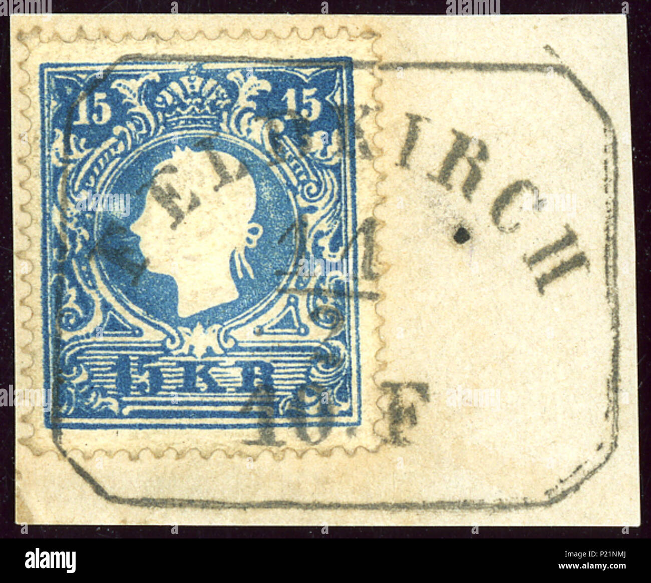 Englisch: Österreichische KK 15 Kreuzer Stempel, Ausgabe 1859, Typ ...