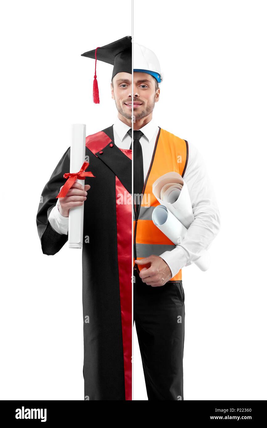 Vergleich der Absolvent und der Architekt von Outlook. Student trägt Schwarz und Rot graduation Kleid, Diplom. Architekt tragen weißes Hemd mit schwarzer Krawatte, orange Weste, Helm, die Papiere. Stockbild