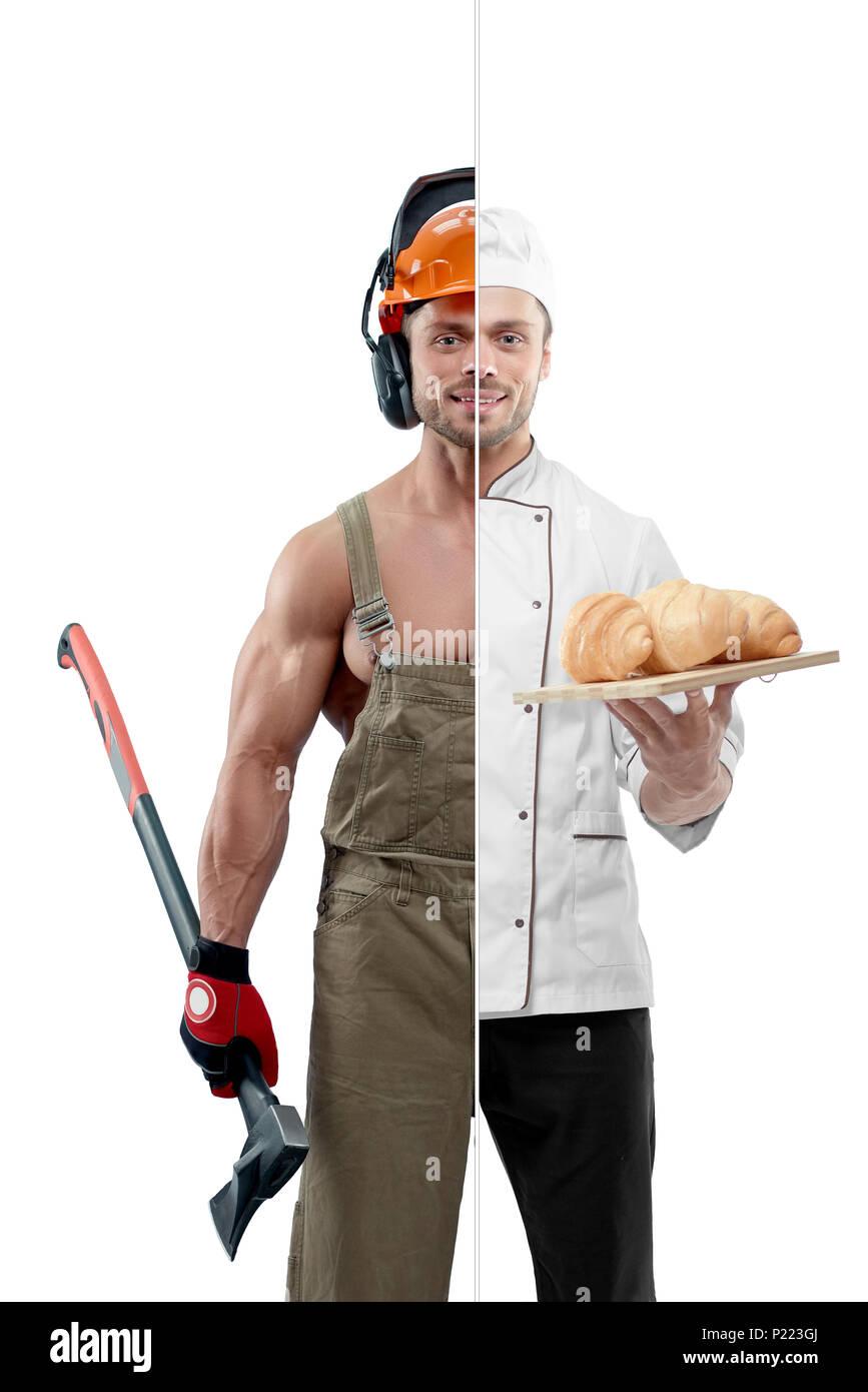 Foto Vergleich der Holzfäller und Chef berufen. Woodcutter tragen Uniform, Schutzhelm und halten eine Axt. Koch das Tragen des Weißen chef Tunika und durchlöcherte Platte mit Croissants. In passen. Stockbild