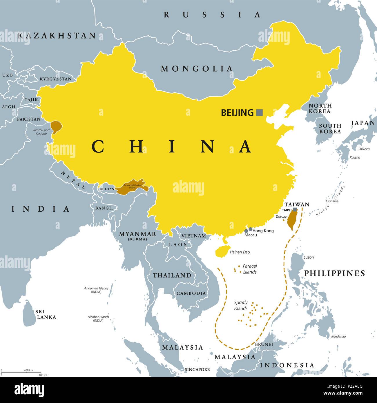 china karte politisch Volksrepublik China, VR China, grau politische Karte. Bereich von