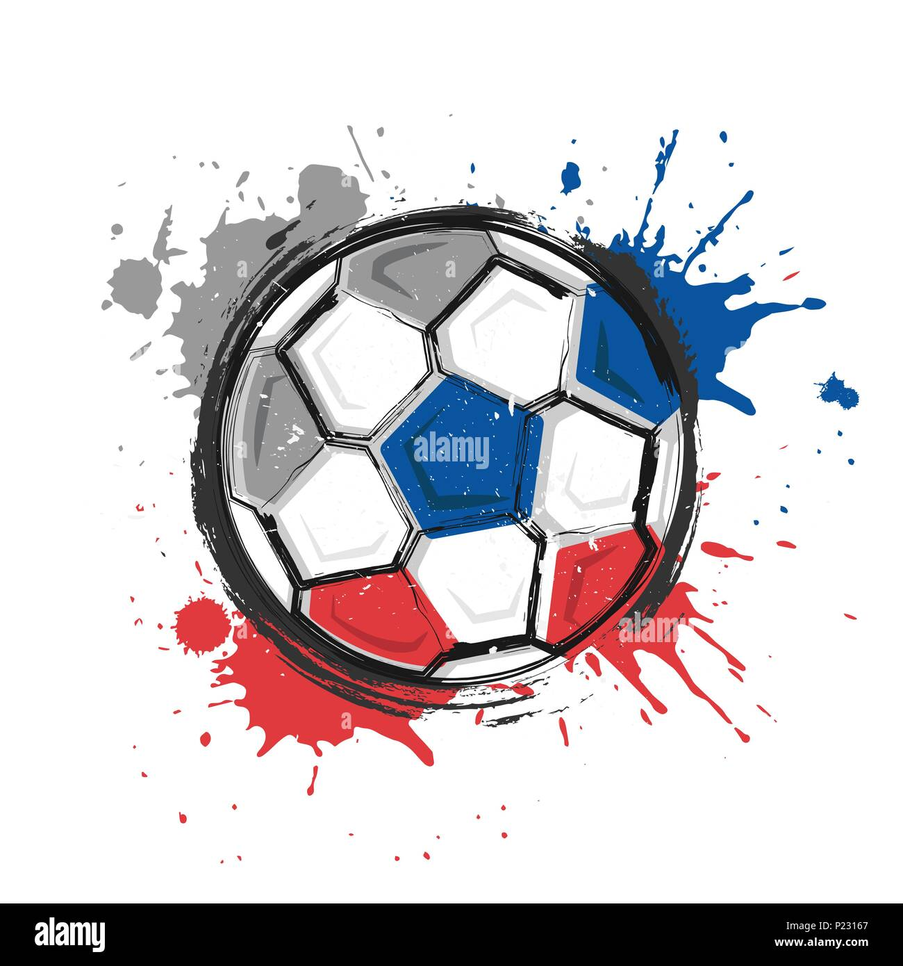 Russland Fussball Symbol Realistisches Aquarell Kunst Malen