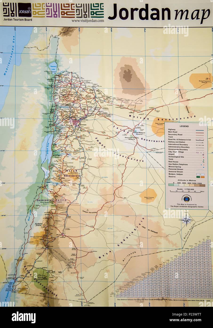 Jordanien Karte.Karte Von Jordanien Stockfoto Bild 207839880 Alamy