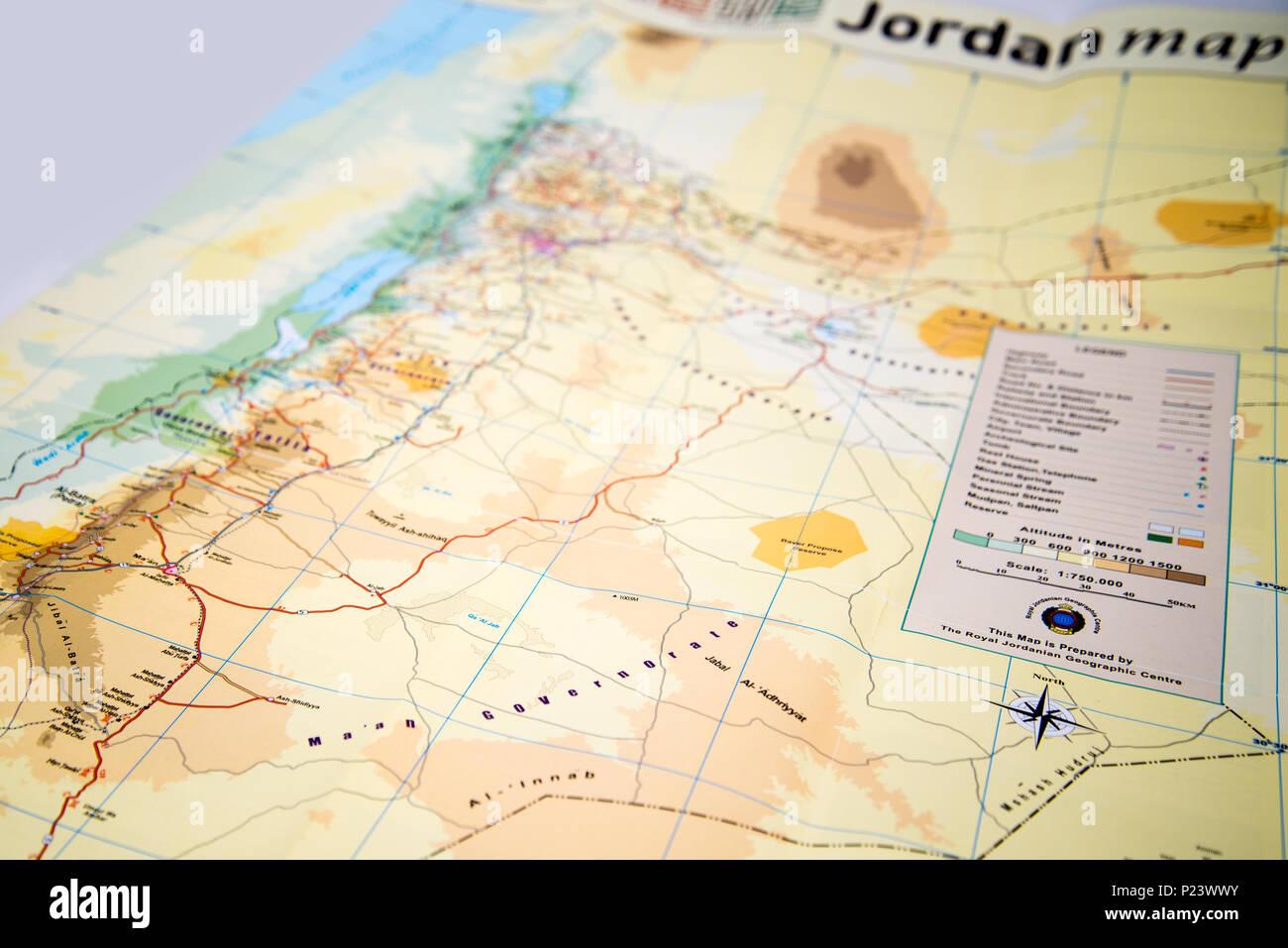 Jordanien Karte.Karte Von Jordanien Stockfoto Bild 207839911 Alamy