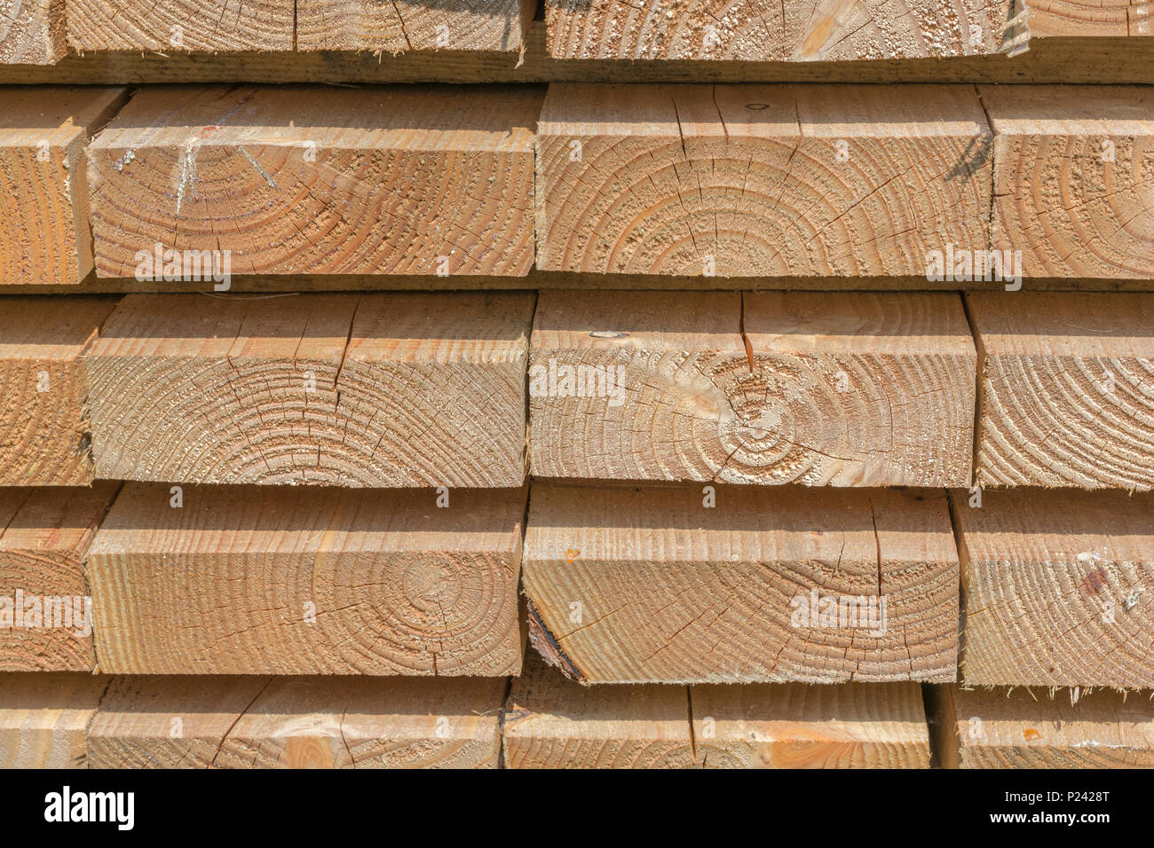 Ordentlich gestapelte Holzbohlen. Stockbild