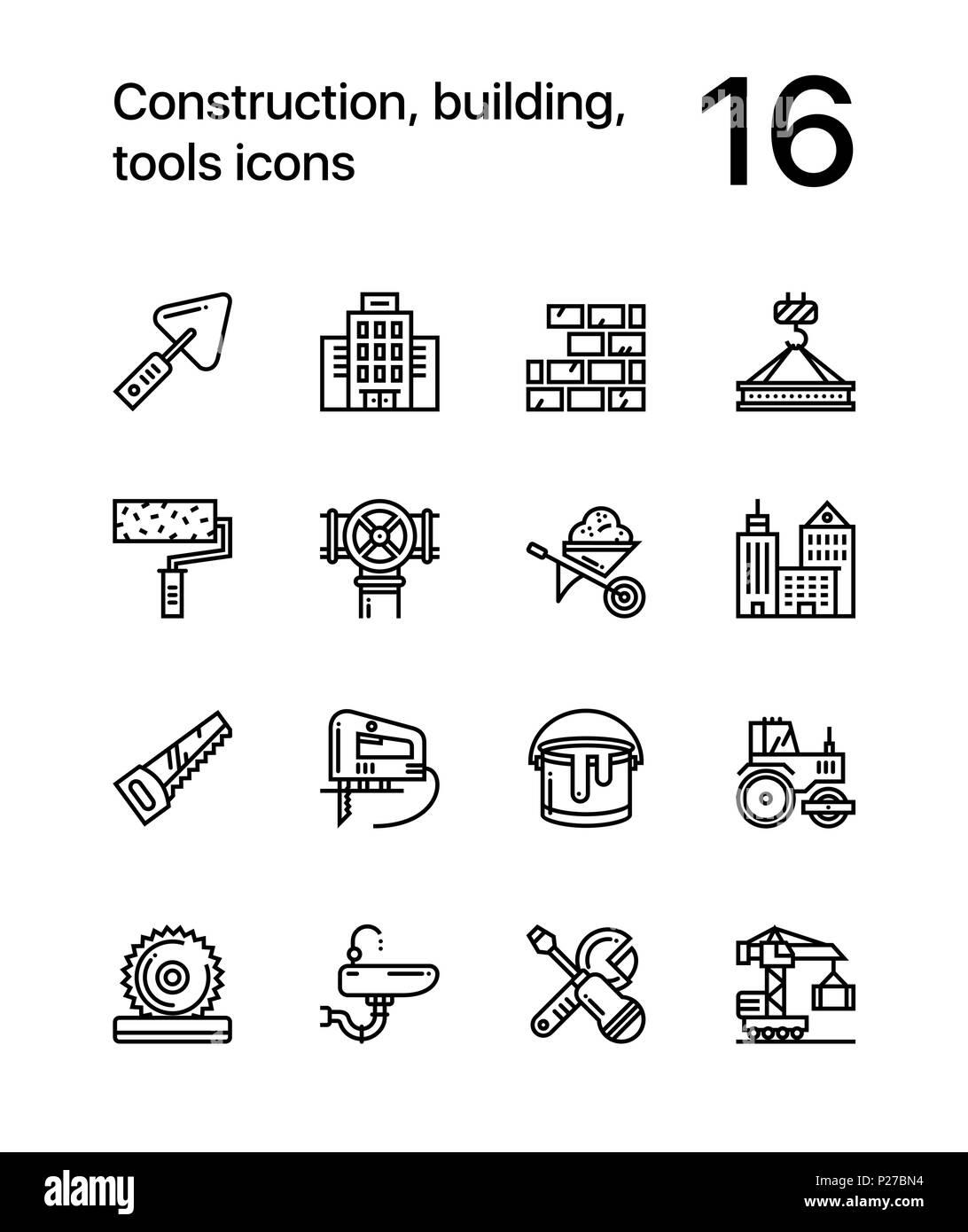 konstruktion, bauen, werkzeuge, nahtlose vektor kontur symbole für