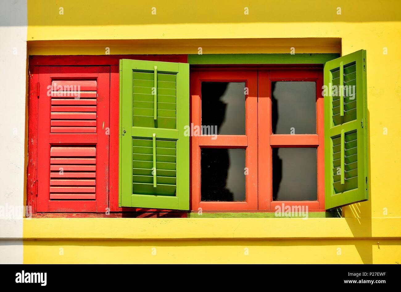Vorderansicht Des Traditionellen Vintage Singapur Shop Haus Mit