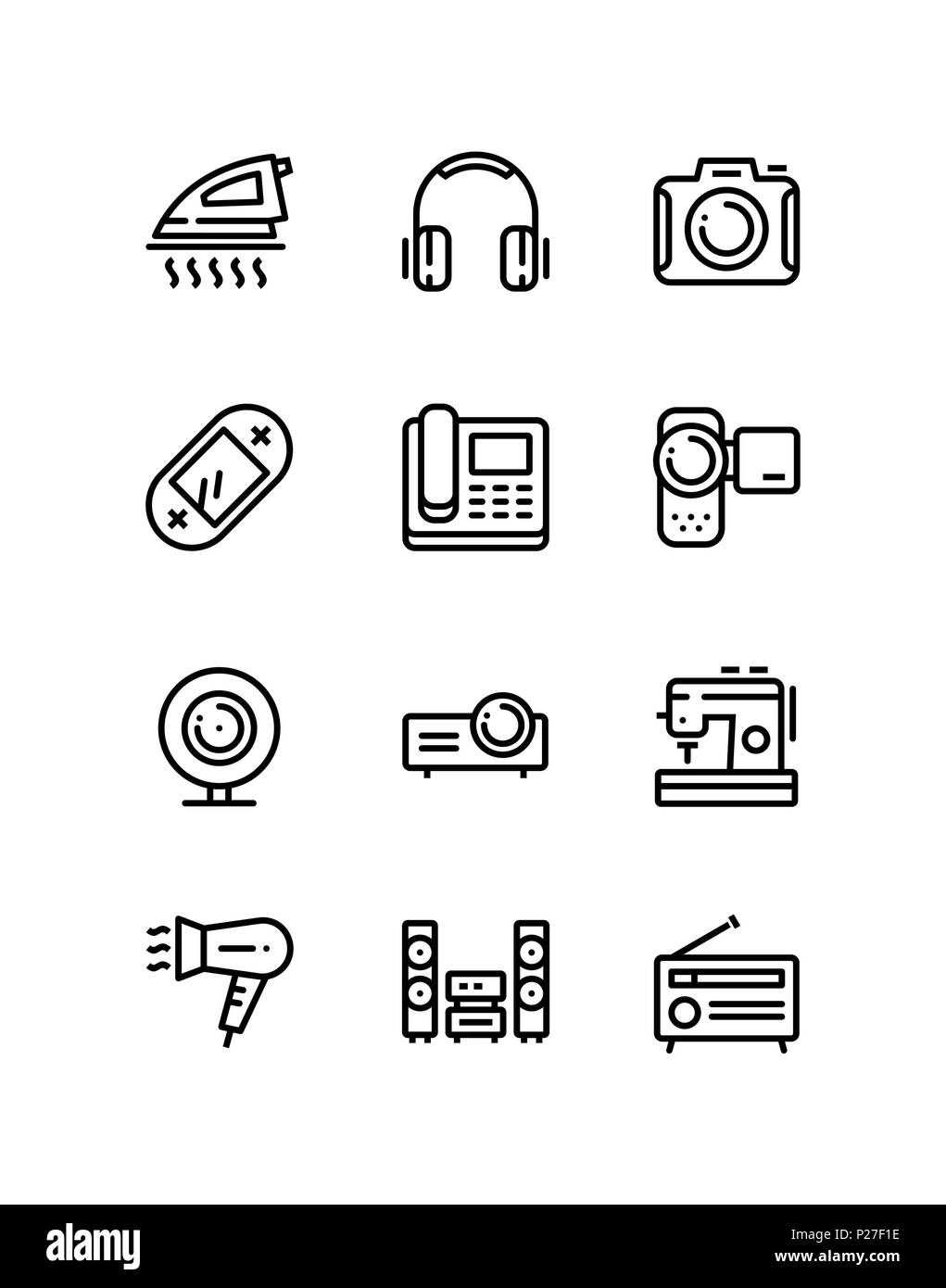 Haushalt elektronische Geräte, Technik, gadget Symbole für Web und ...
