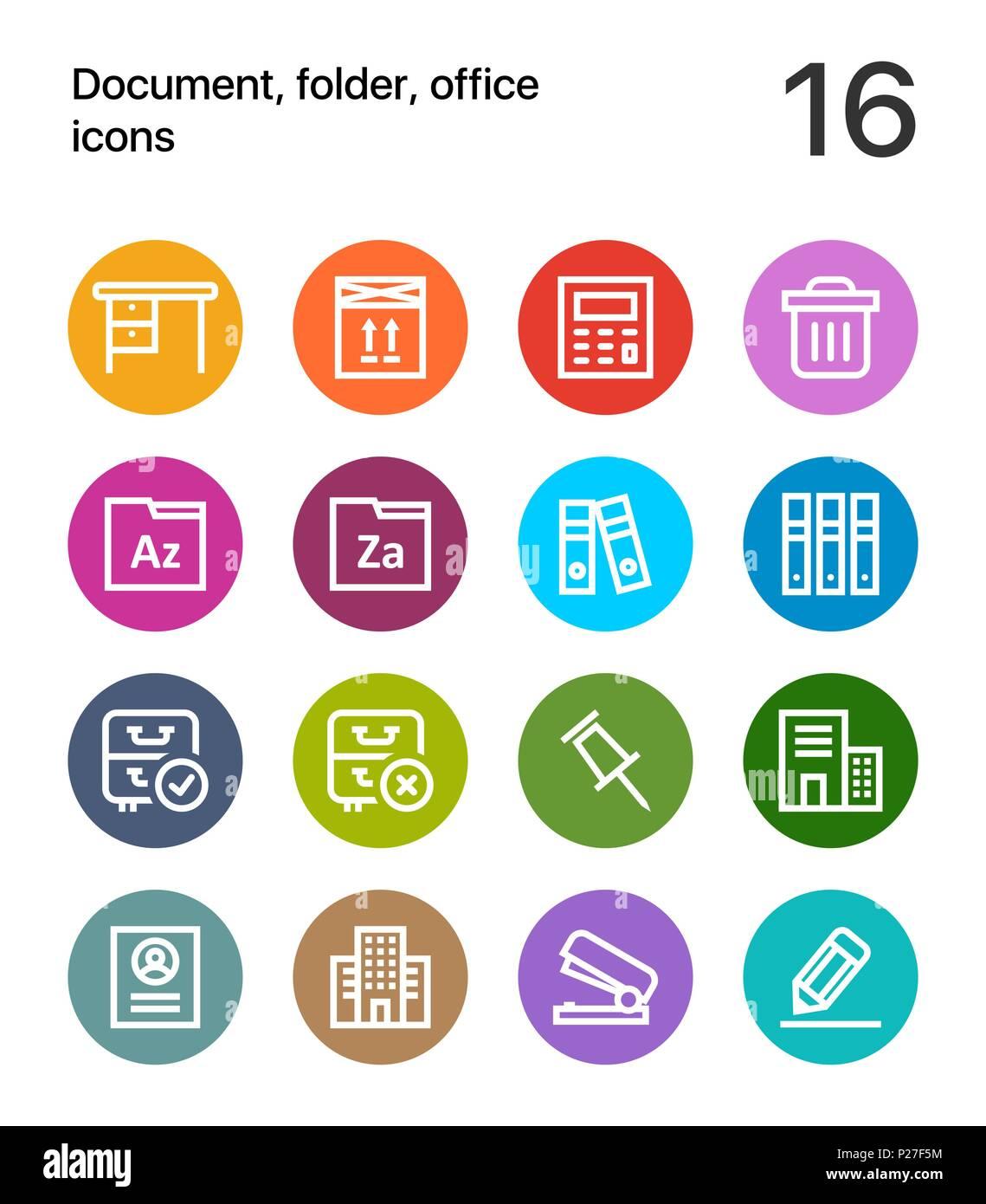 Bunte Dokument Ordner Buro Symbole Fur Web Und Mobile Design Pack