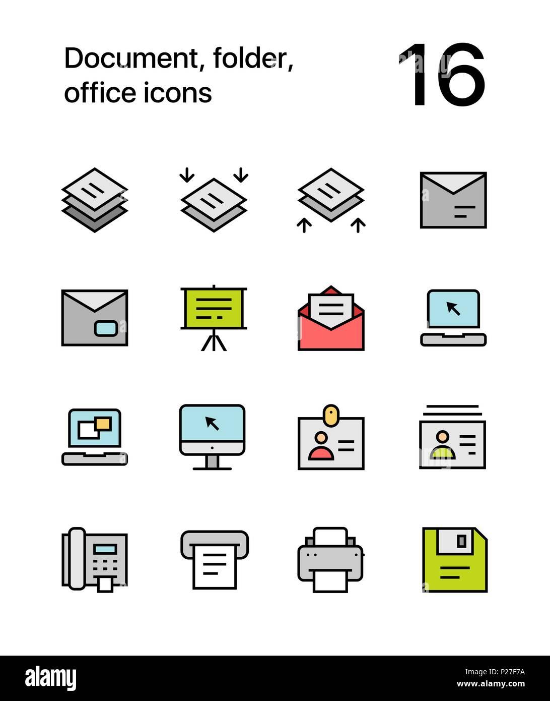 Farbiges Dokument Ordner Buro Symbole Fur Web Und Mobile Design
