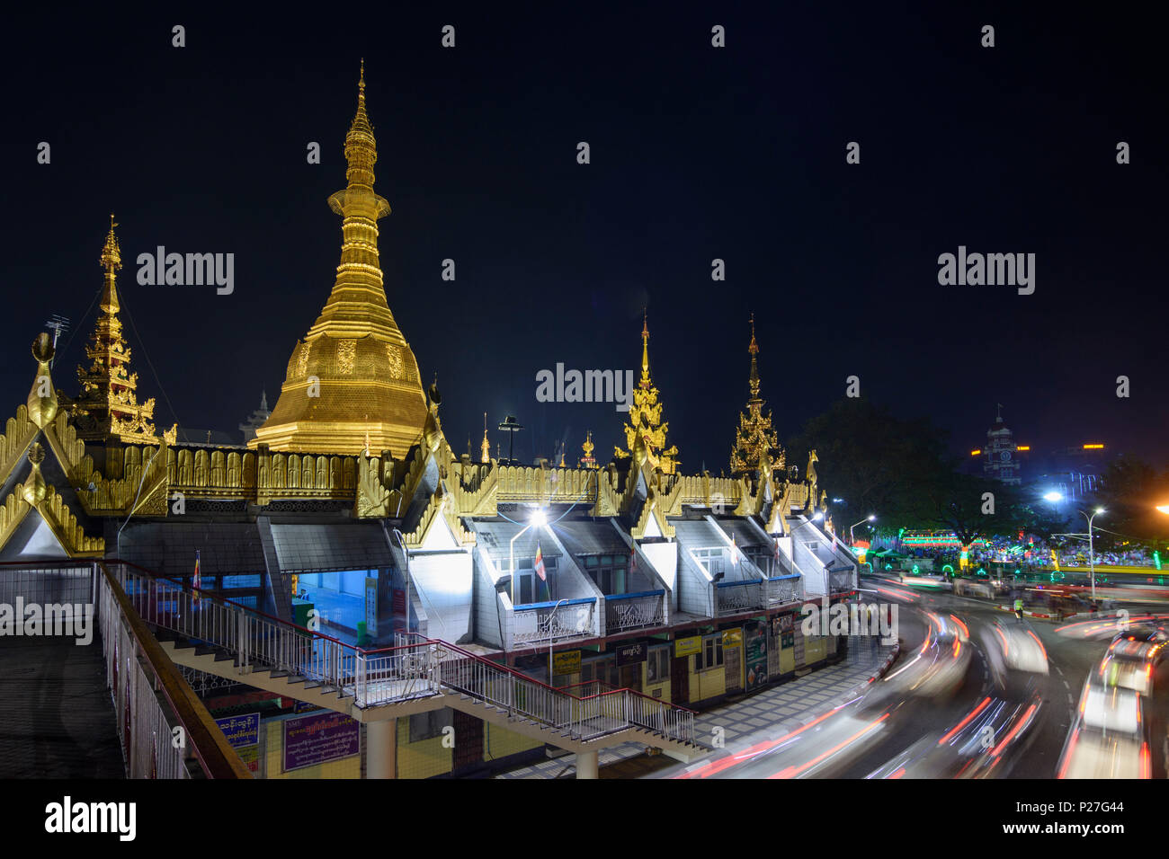 Yangon (Rangun), Sule Pagode, Kreisverkehr Kreisverkehr, koloniale Viertel, Yangon, Myanmar (Birma) Stockbild