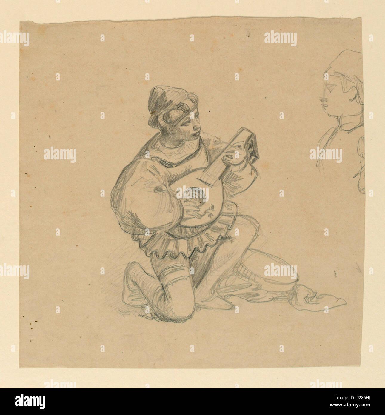 . Englisch: Zeichnung, Junge spielt eine Laute, Ca. 1890. Englisch: horizontale Rechteck. In voller Länge Abbildung eines Jungen, sein rechtes Knie gebogen und spielte die Laute. Profil von einem jungen, teilweise gesehen, rechts. . Ca. 1890 99 Zeichnung, Junge spielt eine Laute, Ca. 1890 (CH) 18404405 Stockbild