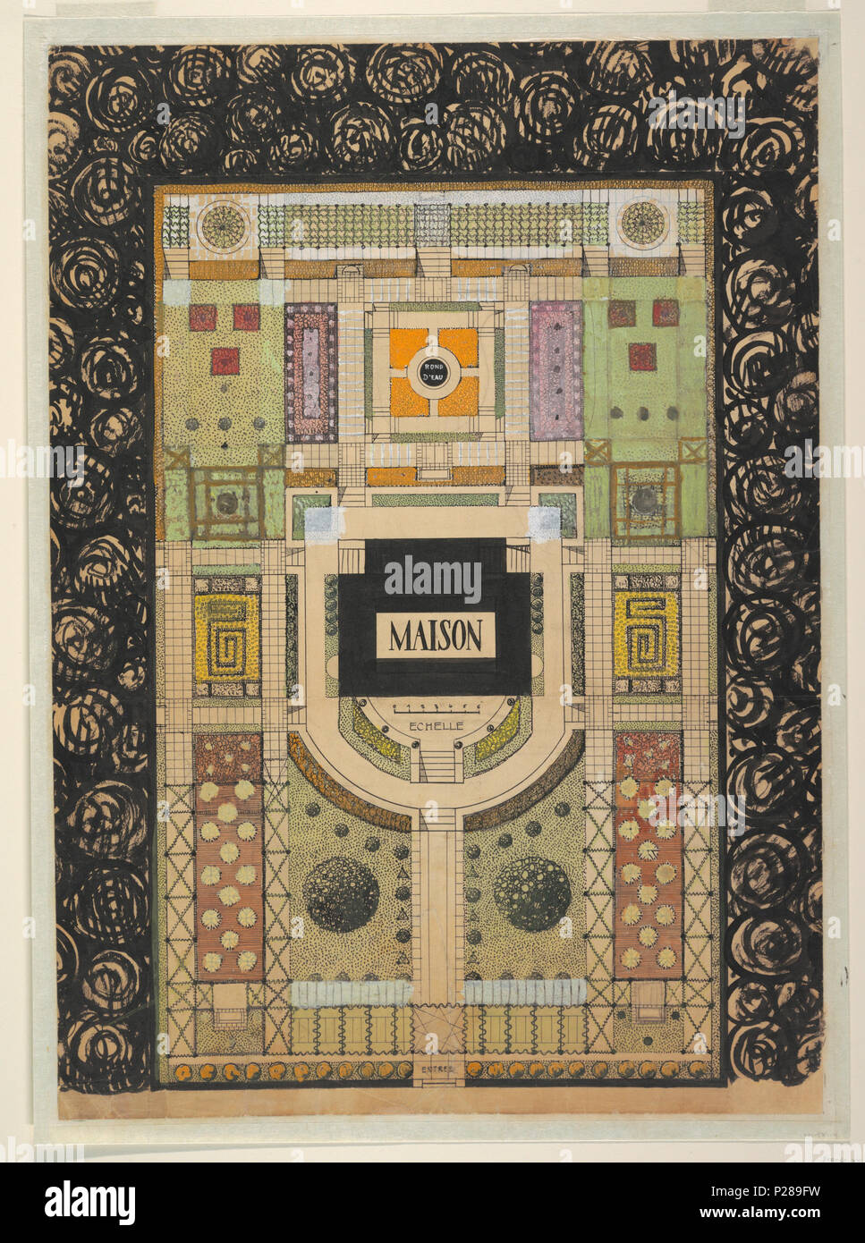 Englisch Zeichnung Jardin Damour Grundriss Für Ein Haus Und