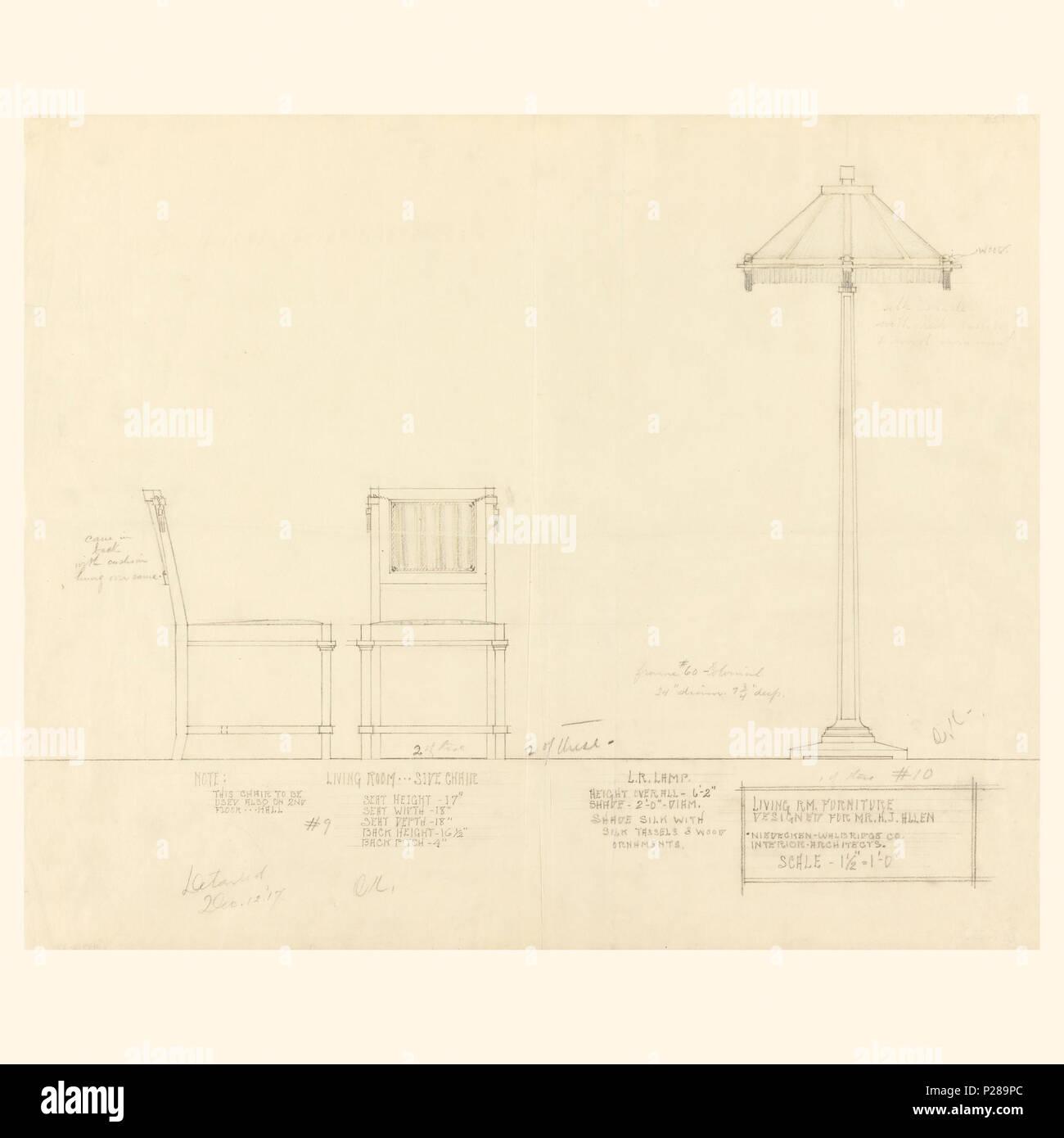 Englisch Zeichnung Wohnzimmer Möbel Henry J Allen Residence