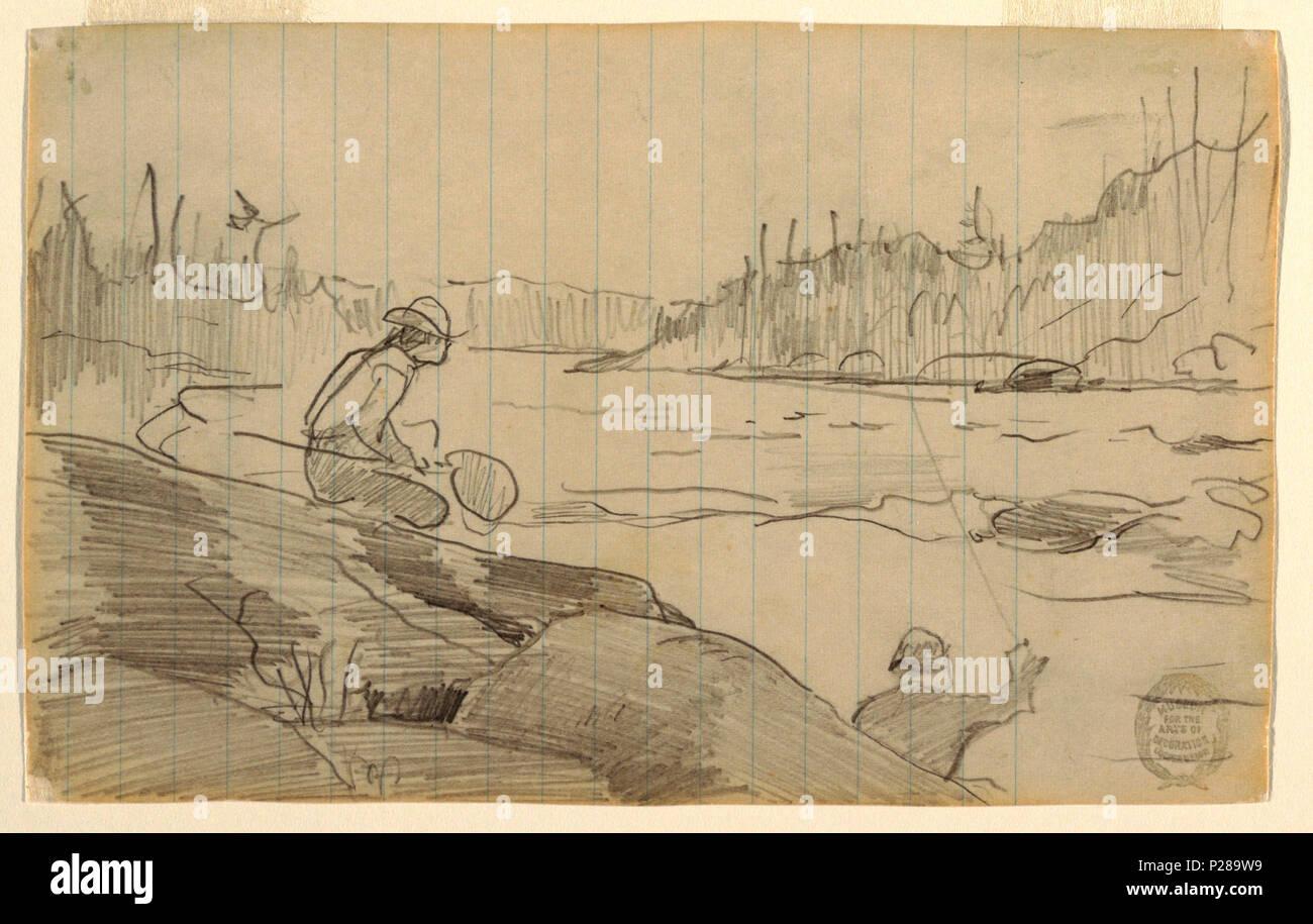 Englisch: Zeichnung, Männer Angeln mit einer Rute und Net