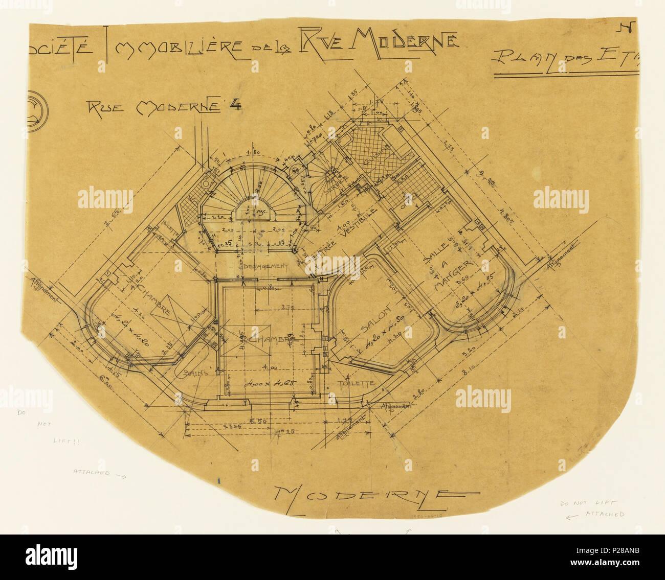 Englisch: Zeichnung, Societe Immobliere de la rue Moderne, Plan du ...