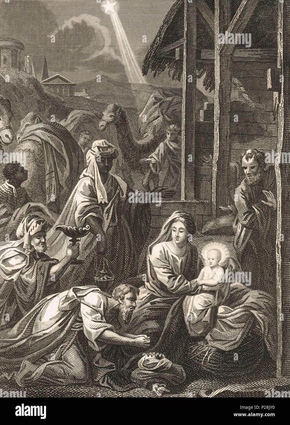 Die drei Weisen, Geburt stabil Szene, Abbildung 19. Stockfoto