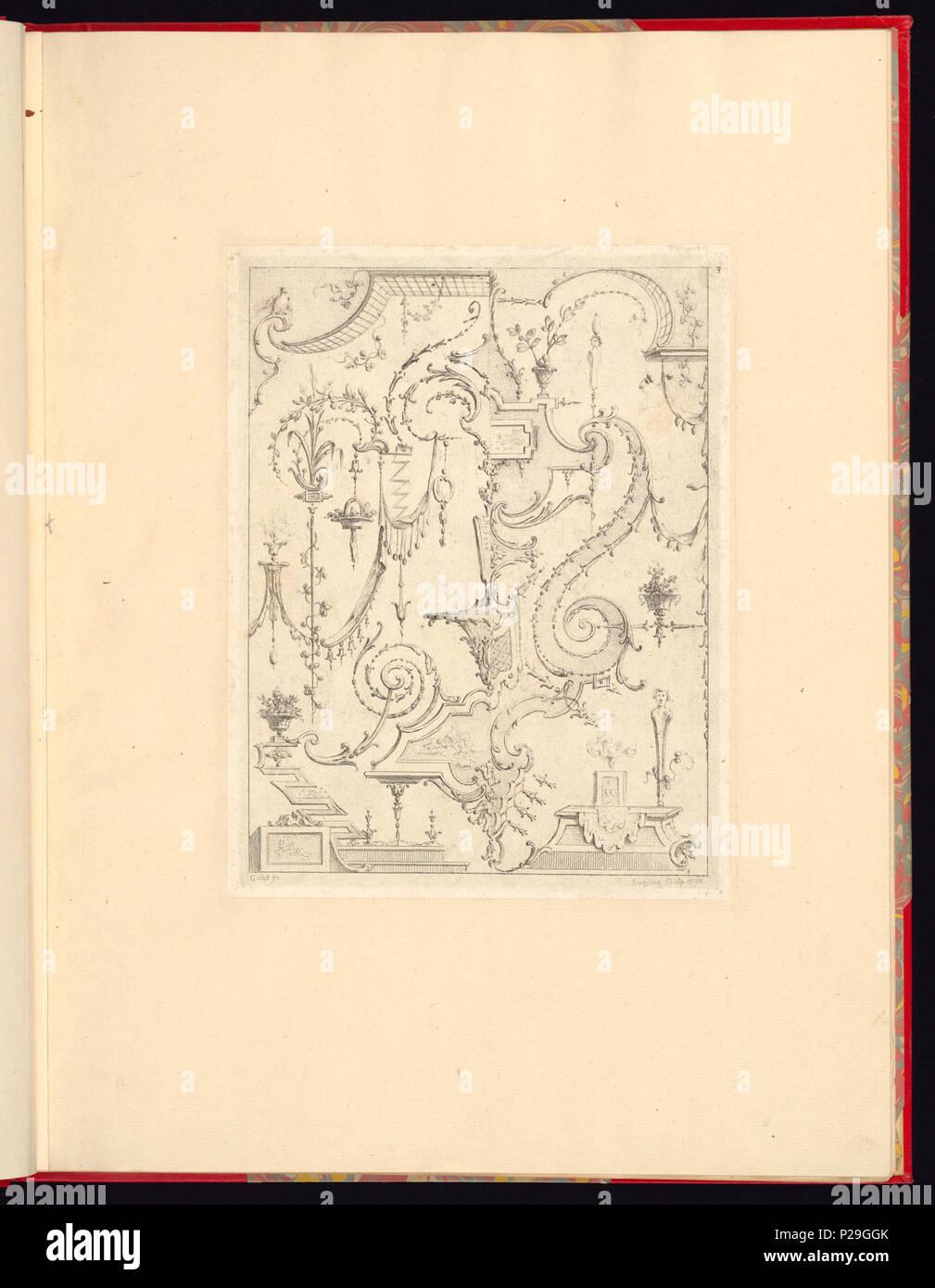 268 Drucken, Nouveau Livre de Principes d'ornements particulièrement pour trouver un nombre Infini de Formes qui, d'après les Dessins de Gillot. Peintre du Roy, gravé par Huquier; PL. 3 (CH) 18272745 Stockfoto