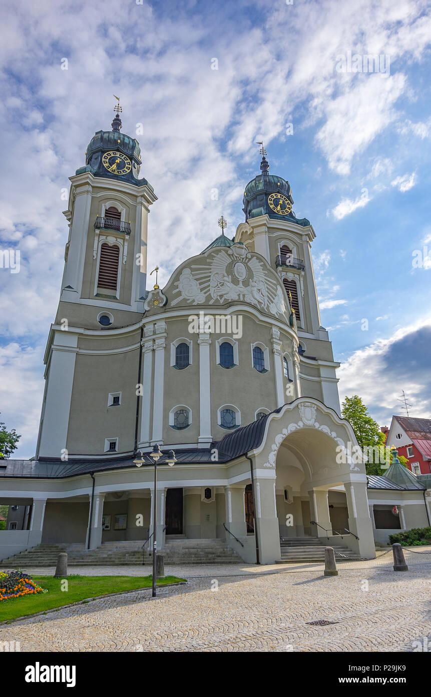 Pfarrkirche St. Peter und Paul in Lindenberg im Allgäu, Bayern, Deutschland. Stockbild