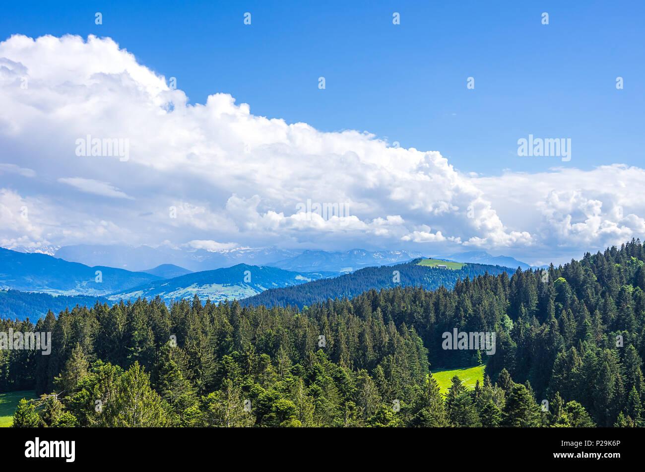 Ländlichen Raum und Landschaft im Westallgau Region rund um den Ort der Scheidegg in der Nähe von Lindau, Bayern, Deutschland. Stockbild