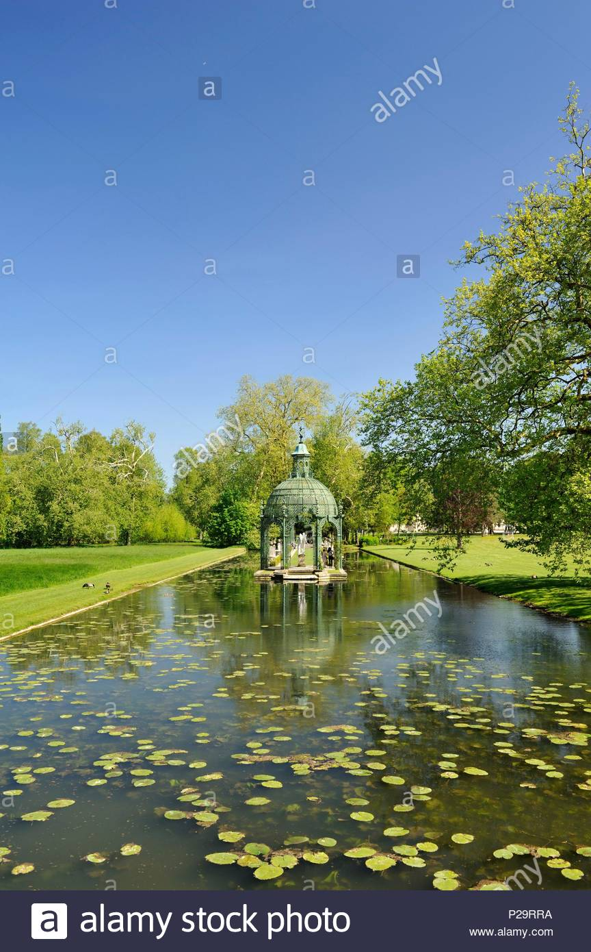 Frankreich, Oise, Chantilly, Chantilly, Schloss Chantilly, den Englischen Garten unter der Restauration im Jahr 1819 durch den Architekten Victor Dubois, der Insel der Liebe konzipiert Stockbild