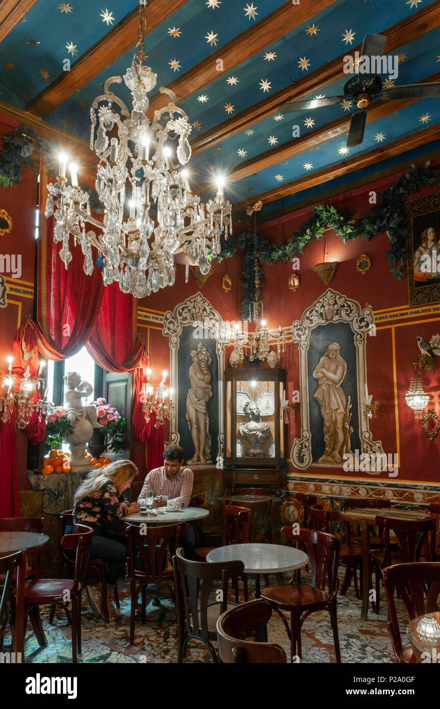 Spanien Valencia Altstadt Cafe De Las Horas Stockfoto Bild