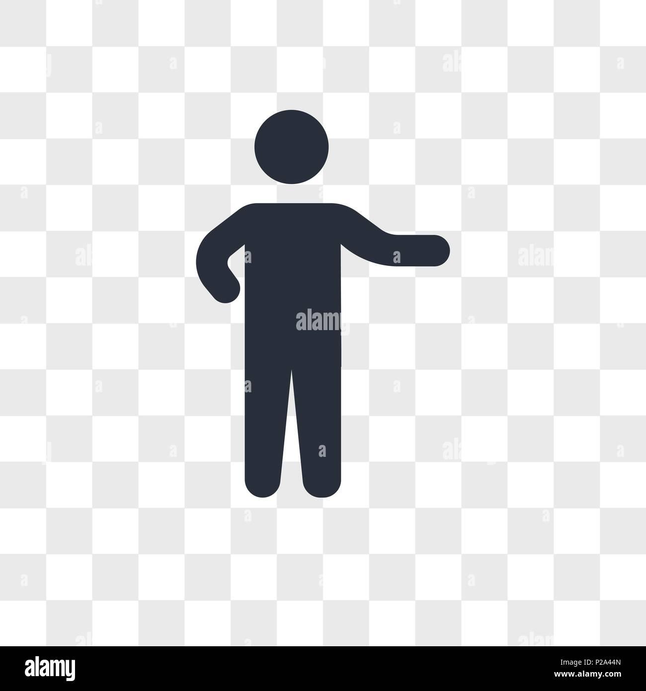 Person Zeigen Vektor Icon Auf Transparentem Hintergrund Isoliert