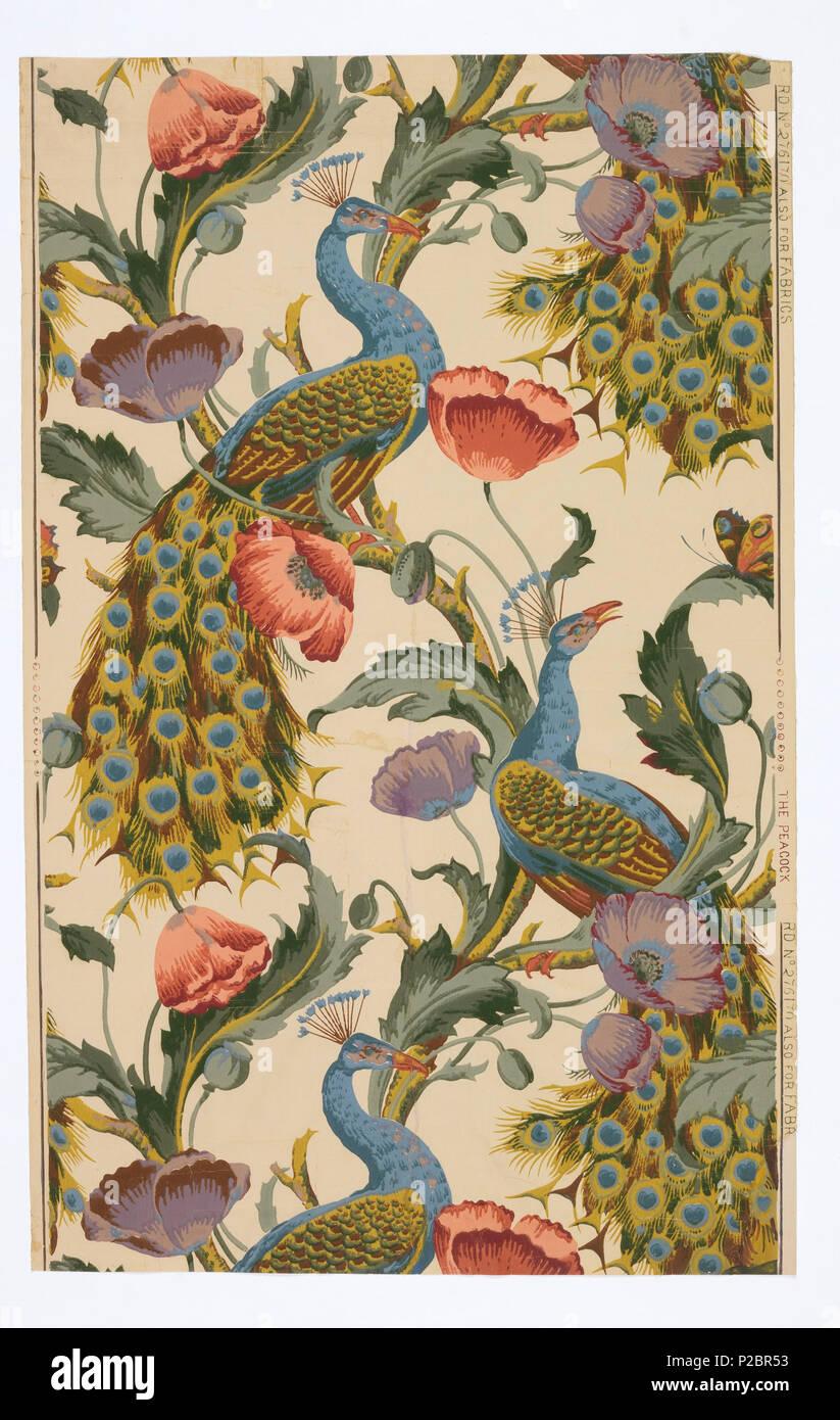 Englisch: Seitenwand, der Pfau, Ca. 1890. Englisch