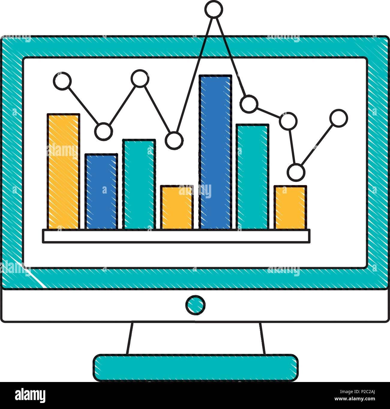 Monitor computer mit statistischen Grafiken isolierte Symbol Stockbild
