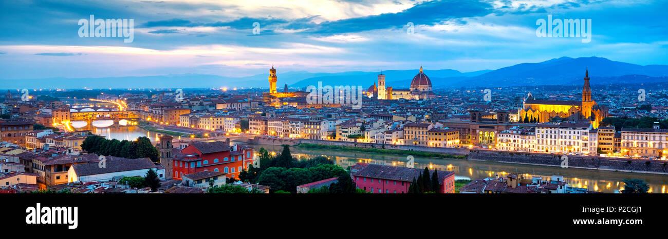 Blick auf Florenz vom Piazzale Michelangelo, Florenz, Italien Stockbild