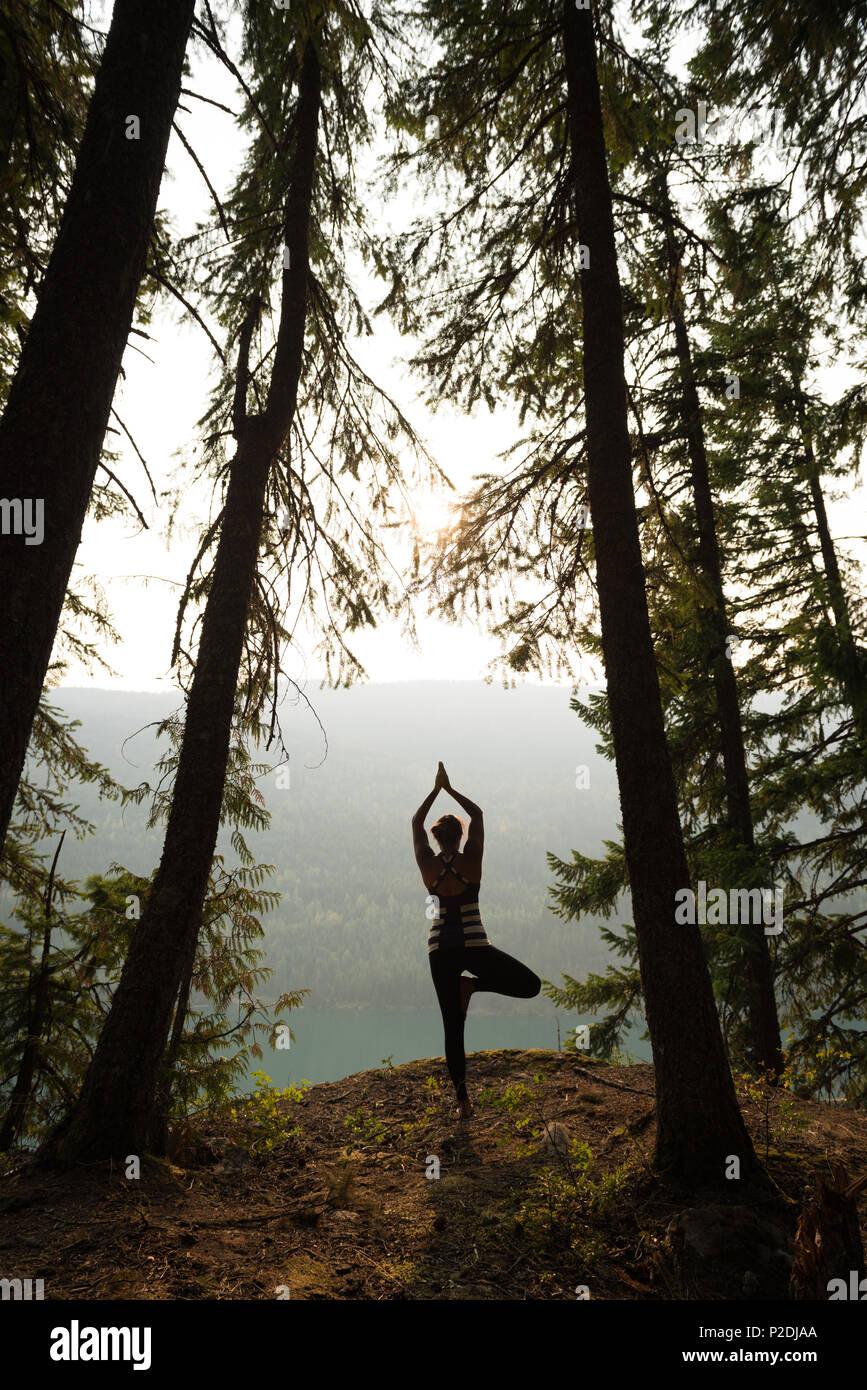 Passende Frau Durchführung stretching Übung in einem üppigen, grünen Wald Stockbild