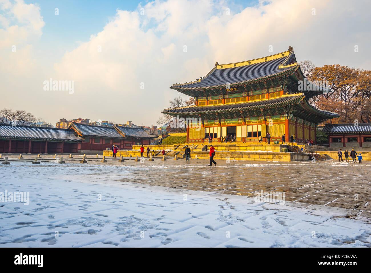 Sonnenuntergang an der Changdeokgung Palast in Seoul, Korea. Stockbild